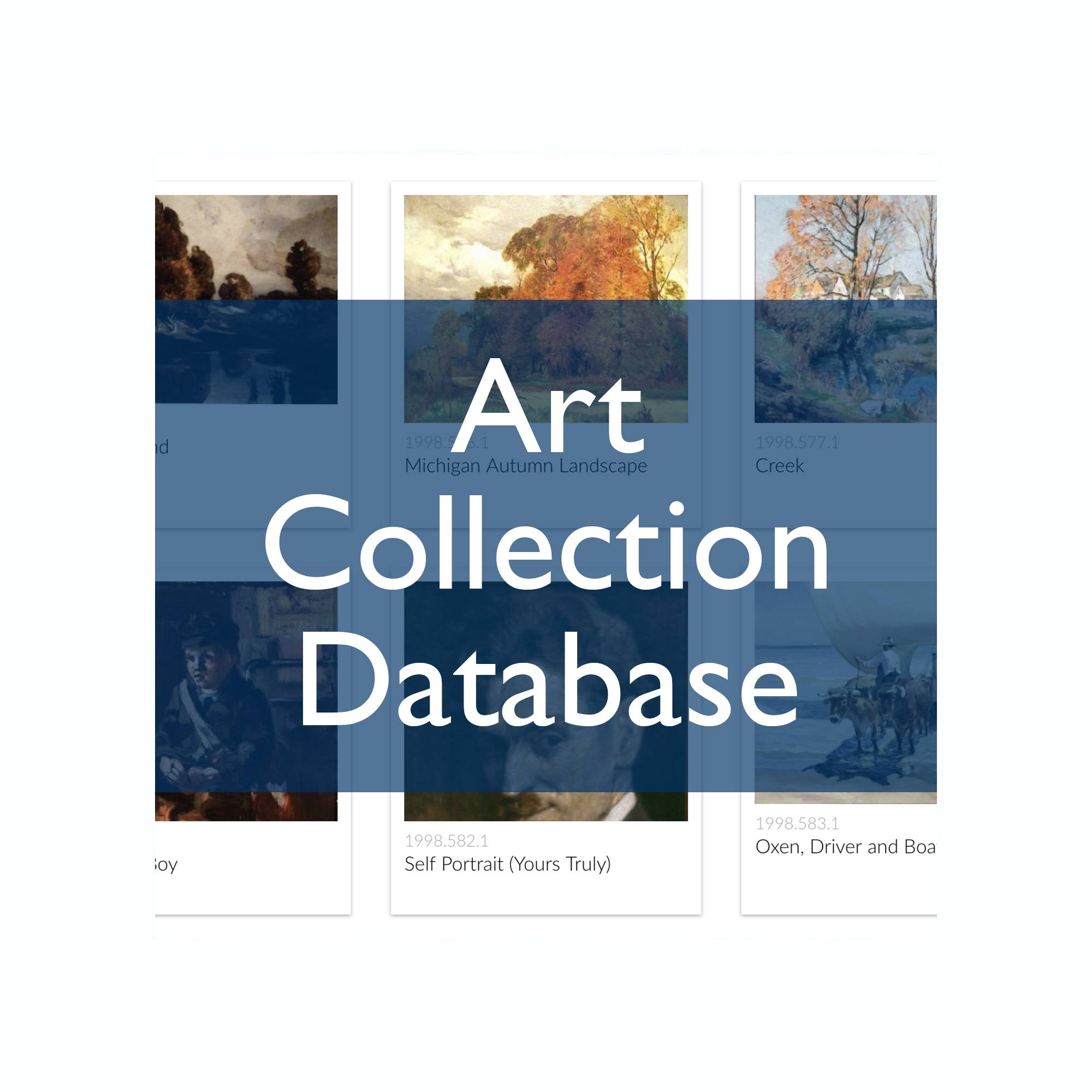 "thumbnail images of impressionist paintings with the text, ""Art Collection Database"" over top"
